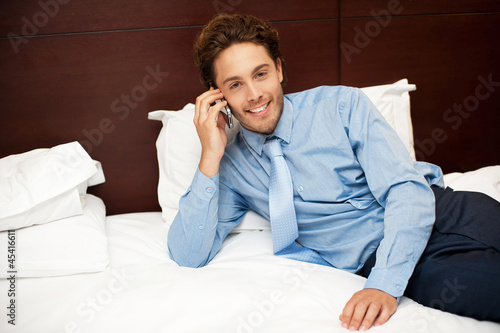 Calm and relaxed businessman resting after work