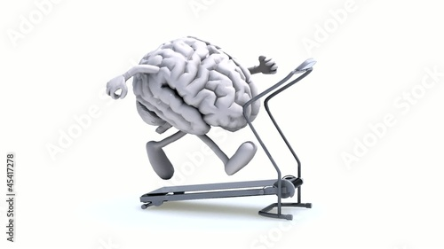 human brain on a running machine, 3d animation