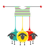 Three Knitting Yarn Sheep