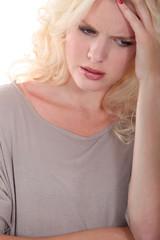 blond woman upset