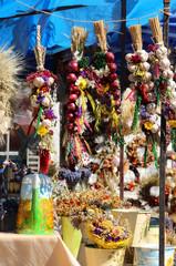 Onion, garlic, herbs, spices, lavender, handmade flower bouquets