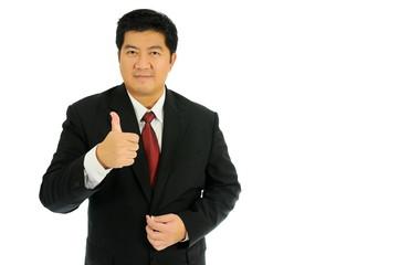 Businessman make congratulations position