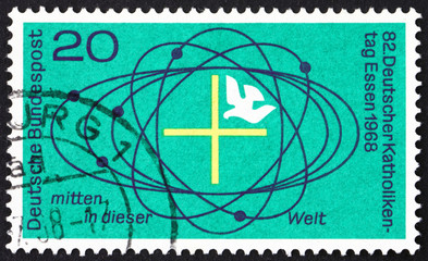 Postage stamp Germany 1968 Cross and Dove in Center of Universe