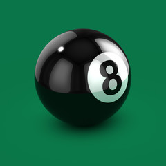 3d 8 Ball on green beize