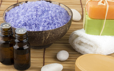 Natural body care set on bamboo