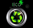 Recycle ecology Sign on black metal button vector illustration