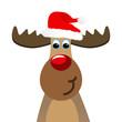 Elch mit Weihnachtsmütze