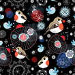 Christmas texture with birds and snowflakes