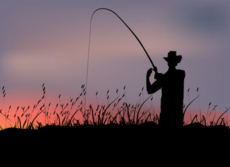 fisherman in the swamp