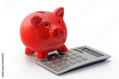 sparschwein mit taschenrechner