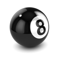 3d Billiards Eight ball side view white background