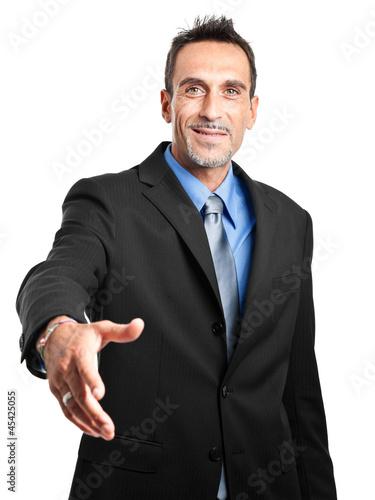 Businessman handshake isolated on white