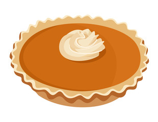 Pumpkin pie. Vector illustration.