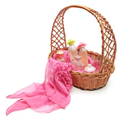 Women's perfume in a basket