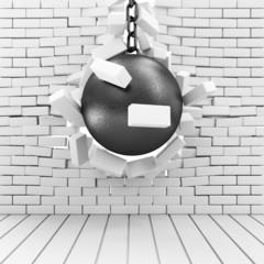 Abstract Illustration of Brick Wall Broken by Wrecking Ball