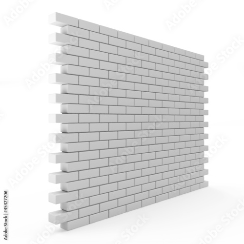 Brick Wall isolated on white background