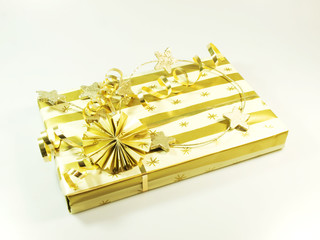 Gift box in gold and white