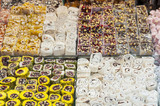 Confectionery at a market stall poster