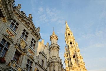 Rathausturm und Bürgerhäuser, Grand Place, Brüssel