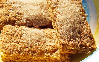 Raw Sugar granules on breakfast cereal
