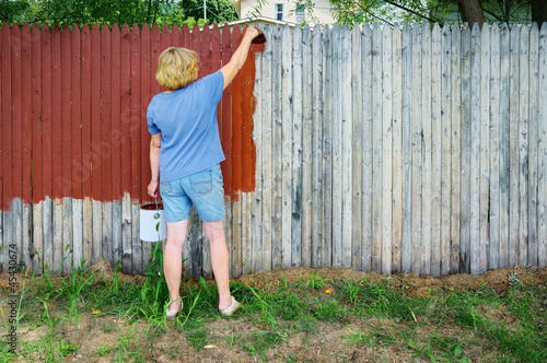 Woman Painting Fence