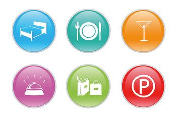 Iconos de colores para la web para hostelería y turismo