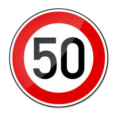 Verkehrsschild Geschwindigkeitsbegrenzung 50km/h