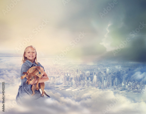 Young Blonde Girl with her Dog on Clouds