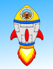 Cartoon astronaut dog in the seceship