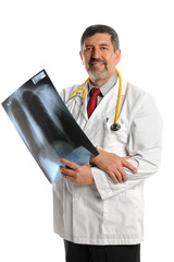 Hispanic Doctor Holding X-Ray Film