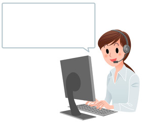 Customer service woman at computer with speech bubble