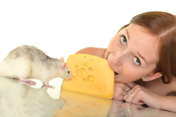 rat and woman eating cheese