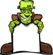 Happy Frankenstein Halloween Monster with Sign Cartoon Vector Il
