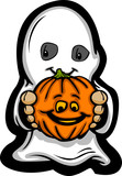 Cute Halloween Kid In Ghost Costume Cartoon Vector Illustration
