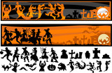 Halloween Character Silhouettes Vector Illustration