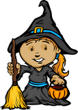 Cute Halloween Girl In Witch Costume Cartoon Vector Illustration