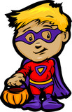 Cute Halloween Boy In Super Hero Costume Cartoon Vector Illustra