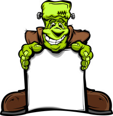 Happy Frankenstein Halloween Monster with Sign Cartoon Vector Il