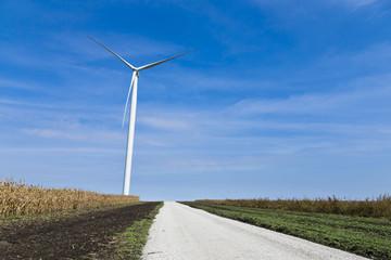 Wind turbine amongst the farms