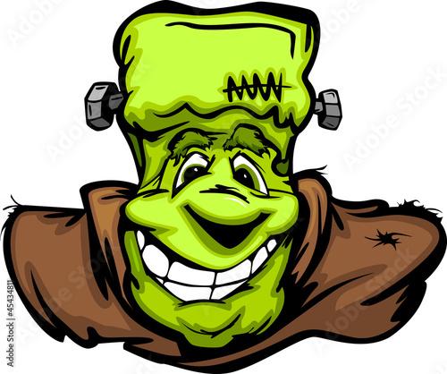 Happy Frankenstein Halloween Monster Head Cartoon Vector Illustr