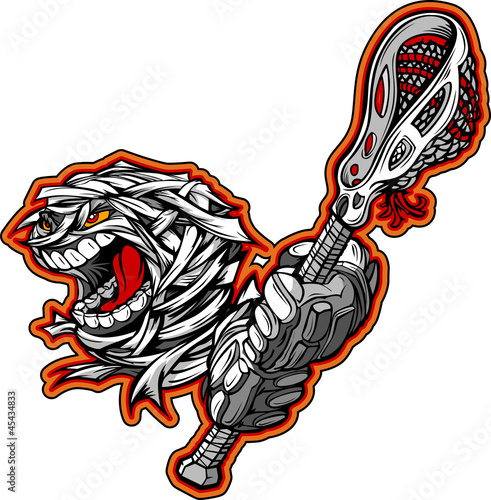 Halloween Mummy Monster with Lacrosse Stick Cartoon Vector Illus