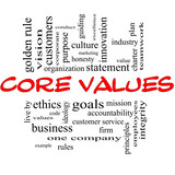 Core Values Word Cloud Concept in Red & Black