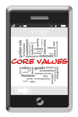 Core Values Word Cloud Concept on Touchscreen Phone