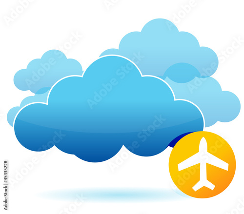 Cloud and airplane illustration design