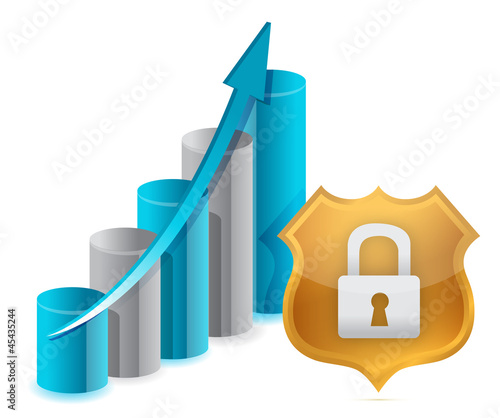 Business protection graph and shield illustration