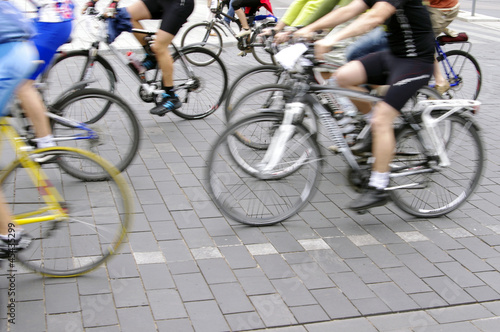 In de dag Motion blur abstract of a bike riders on the street