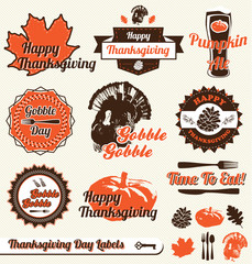 Vector Set: Retro Thanksgiving Day Labels and Stickers