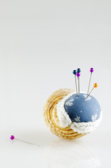 pincushion in shell with pins isolated vertical