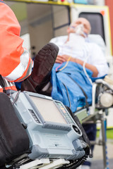 Emergency defibrillator patient ambulance