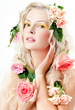 beautiful blonde with flowers in her hair